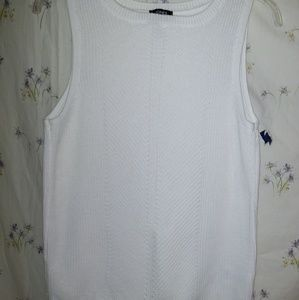 Jones New York white knit sweater vest/top NWT